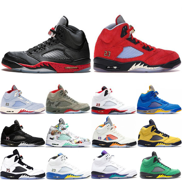 Newest 2020 Bred Trophy Room University Red Ice Blue 5 5s OG men basketball shoes Michigan JSP Laney Varsity Royal PSG Trainers sneakers
