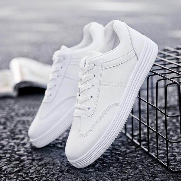 2019 Sonbahar Yeni Rahat Ayakkabılar Erkek Deri Flats Oxfords Dantel-Up Ayakkabı Moda PU Deri Nefes Rahat Sneakers L156