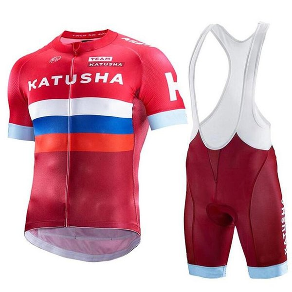 KATUSHA 2019 Bisiklet Jersey Tops Yaz Yarış Bisiklet Giyim Kısa Kollu Bisiklet Jersey Gömlek Maillot Ropa Ciclismo şort setleri