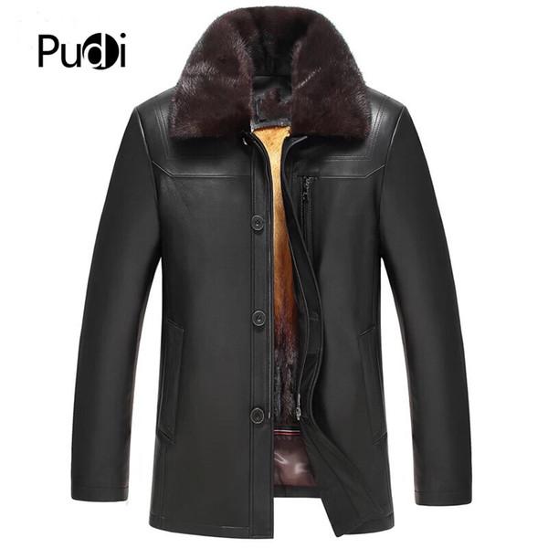 PUDI MT840 2018 Erkekler yeni moda gerçek koyun deri ceketler içinde astar ile güz kış casual dış giyim