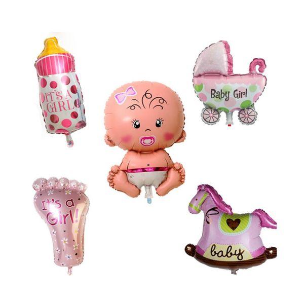 5pcs / set garçon fille bébé feuille de douche géant baptême super forme ballons parti décoration enfants