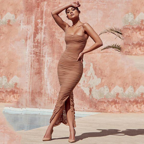 Vestido sin mangas plisado de malla de verano para mujer Vestido ajustado sin mangas con cuello en V Vestido largo sin mangas Color sólido Vestidos largos