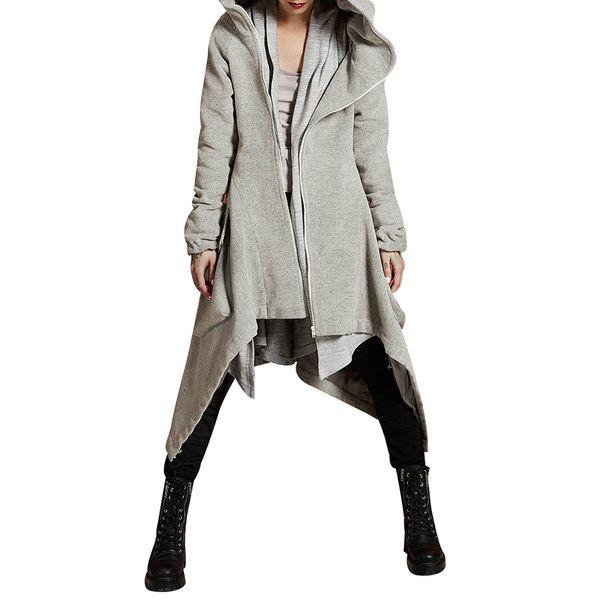 Womens Winter Fashion Casual con capucha mujer cremallera suelta 2018 asimétrico sólido acolchado abrigo abrigo