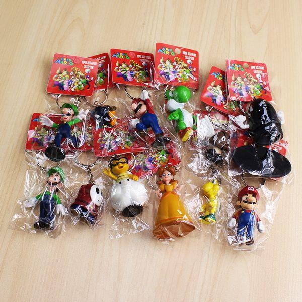 12pcs/set Super Mario Figure Doll Toys Mario Yoshi Luigi Daisy Goomba Shy Guy Pvc Dolls With Keychain 3-7cm Free Shipping Y190604