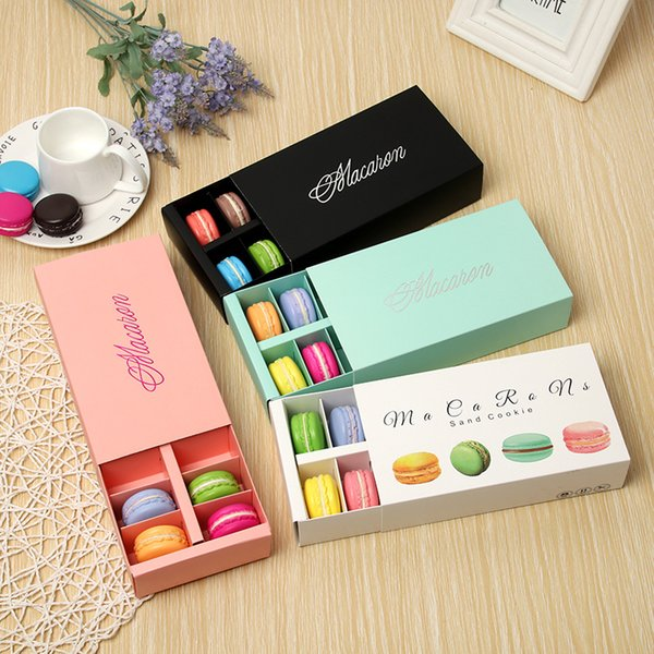 Colorful Macaron Box Holds 12 Cavity 20*11*5cm Food Packaging Gifts Paper Party Boxes For Bakery Cupcake Snack Candy Biscuit Muffin Box