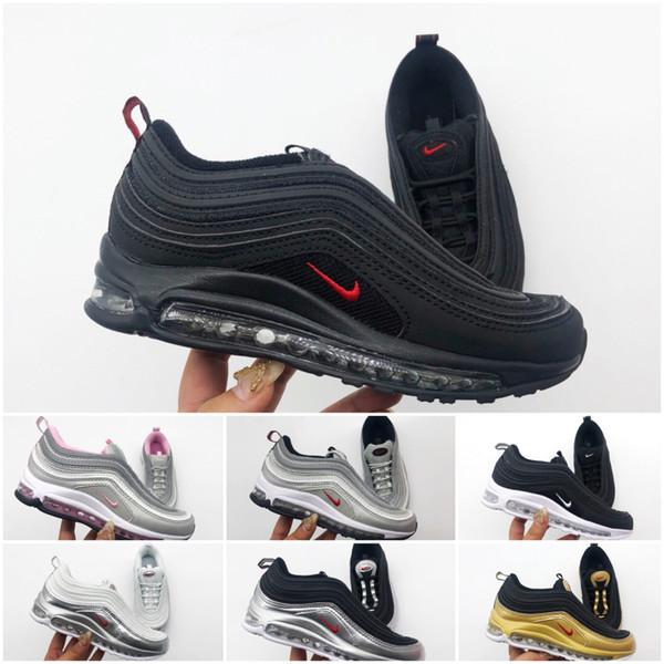 Nike air max 97 Gençlik Çocuk Üçlü beyaz Koşu ayakkabıları Boys kız Altın Silver Bullet Pembe Erkek eğitmen spor sneaker boyutunu 28-35 ayakkabı