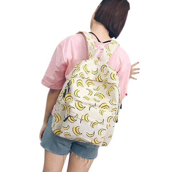 Banabanma Student Canvas Backpack with Fruit Pattern Pineapple/Watermelon/Banana Printing Shoulder Bag Schoolbag Daypacks ZK50