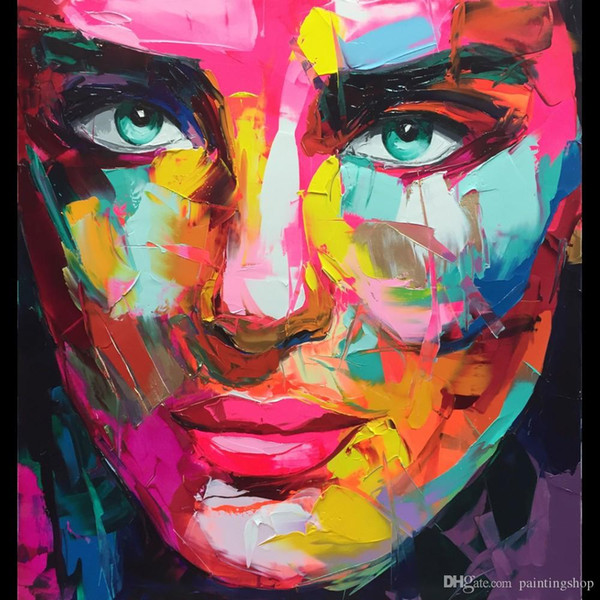 Francoise Nielly Palette Knife Impression Home Artworks Modern Portrait Handmade Oil Painting on Canvas Concave and Convex Texture Face185