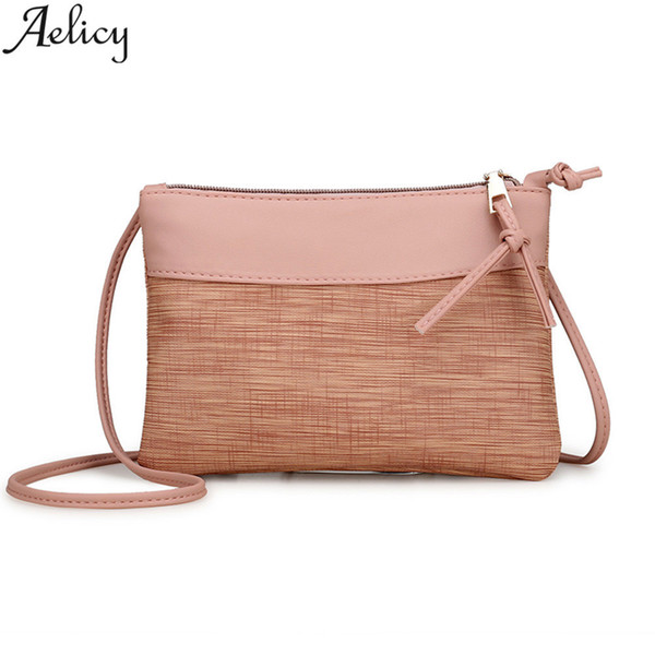 Cheap Aelicy PU Leather Messenger Bag Women Vintage Bags Handbags Women Famous Brands Zipper Mini Crossbody Bags for Women Small Purse