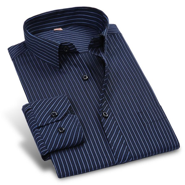 Autumn New 2018 Striped Men Dress Shirt Formal Fashion Long Sleeve Brand Business Men Casual Shirt Regular Fit Plus Size 5XL 6XL #388933