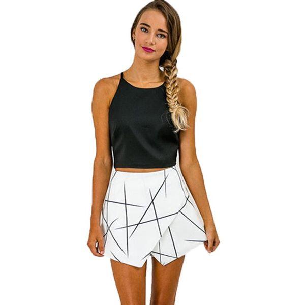 SH89 Wrap blanco sexy para mujer Origami Asimétrico dobladillo en ángulo Pantalones cortos con estampado geométrico para verano Nuevo 2016 Tamaño S-XL