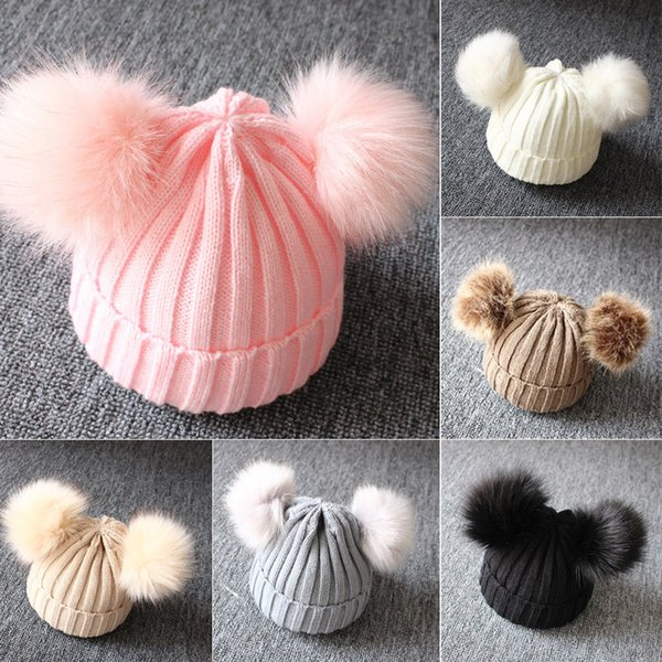 children's winter toddler baby kids faux fur hat cap beanie with 2 two double pom poms pompom ears funny hat for boys and