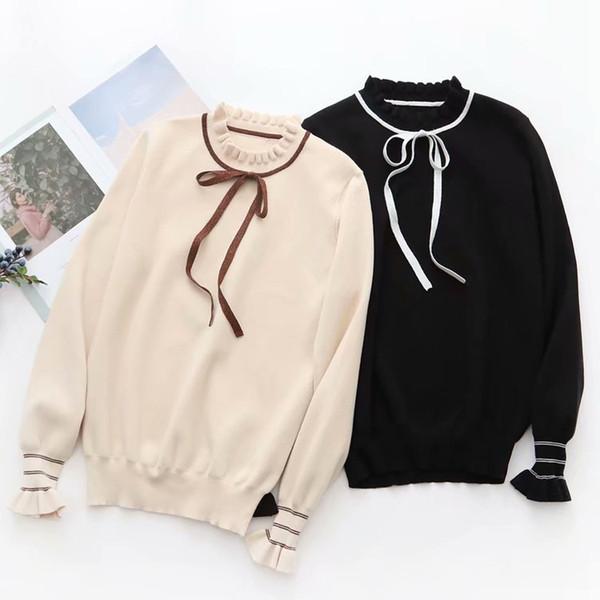 Maglione europee Moda 2019 da donna americana dolce di stile bello signora Maglione manicotto della farfalla 2019 inverno primavera maglioni del pullover