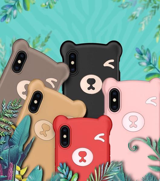 Telefon Kılıfı Için Yeni Iphone 11 6 7 8 XR XS XS Max Anti-leke Anti-parmak izi Sıvı TPU + Silikon Yumuşak İpi Ile Sevimli Ayı Durumda