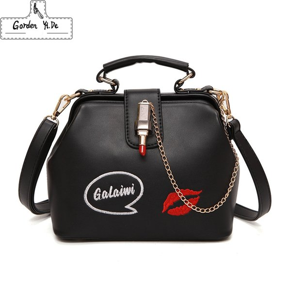 Bags For Women 2019 Fashion Cheap Women Handbag Lady Small Embroideried Lipstick Chain Crossbody Bags Leather Doctor Bag
