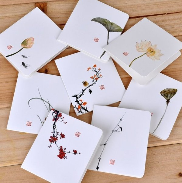 Creative Classic Chinese Style Greeting Card White Simple Message Diy Folding Birthday Christmas New Year S Day Greeting Cards Cards For Birthdays