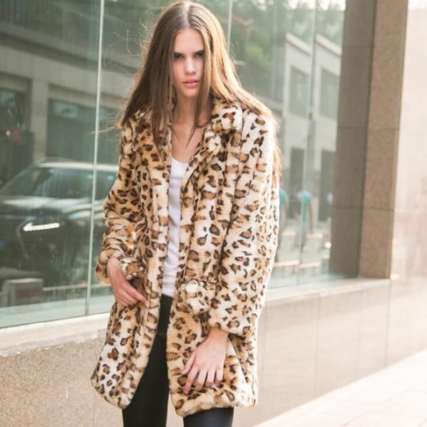 Outono das mulheres jaqueta de couro de vison do falso das mulheres inverno engrossar quente impressão estampa de Leopardo casaco de couro das mulheres jaquetas finas moda tamanho grande