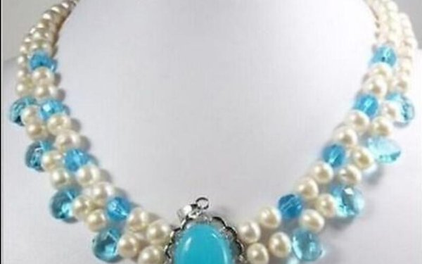 necklace Free shipping ++++2 color White Freshwater Pearl pink & Blue Jade Moonstone Pendant Necklace