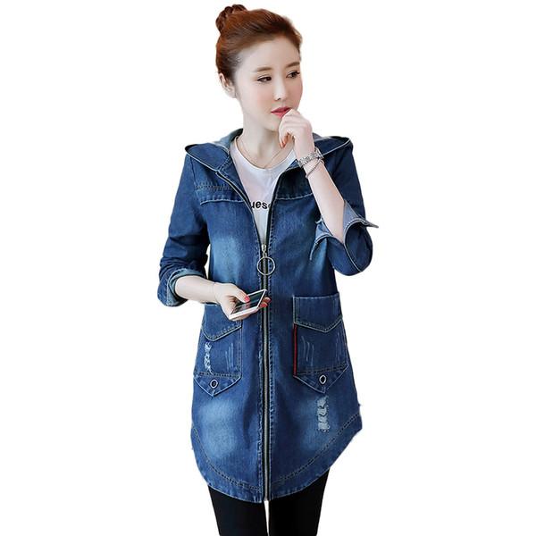 Chaqueta de mezclilla coreana de primavera mujer delgado largo Base de la capa de las mujeres de invierno con capucha azul tamaño más Jeans chaquetas abrigos Cool 5XL NW1105