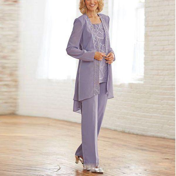 Üç Adet anne Gelin Pantolon Ceket ile Suits Leylak Payetli kadın Kıyafet Ayak Bileği Uzunluğu Şifon Günlük Giysiler