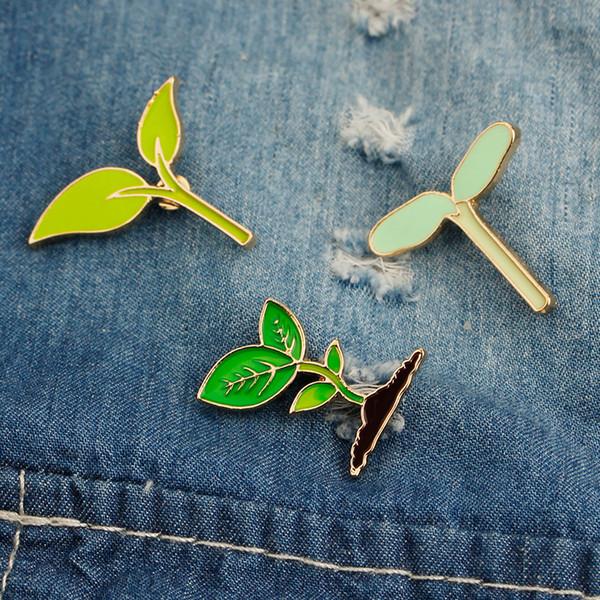 Cute Cartoon Green Bean Sprouts Brooch Coat Shirt Collar Jean Pins Plant Brooches Bag Scarf Hat Badge for Women Men