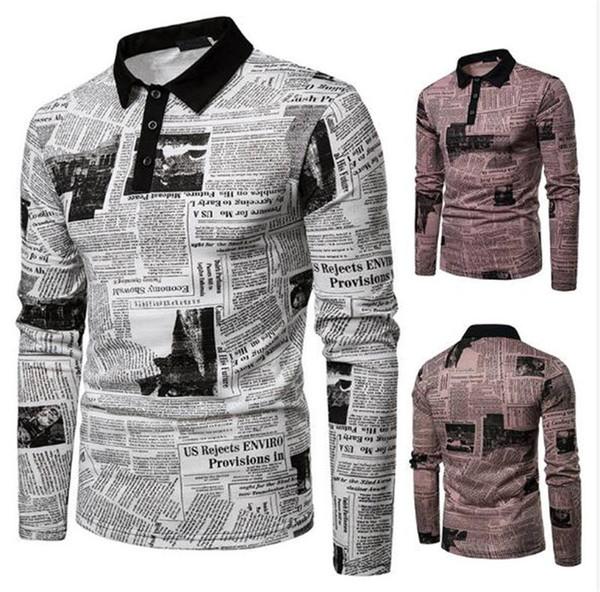 Газета Printed Мужских поло отворот шея длинного рукав мужского Tees Casual Street Style Мужская одежда