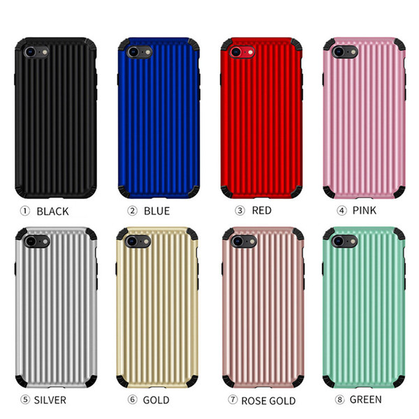 5e75ad1e2bc0 TPU PC Travel Luggage Stripes Phone Cases for iPhone XS Silicone Cover for  iPhone XR 6S 7 Max