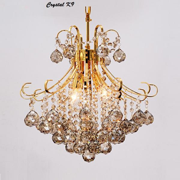 Moderne Silber / Gold transparent / kognitiven Kristall Kronleuchter Lüster de Cristal Innenbeleuchtung Kristall Anhänger Wohnzimmer Lampe