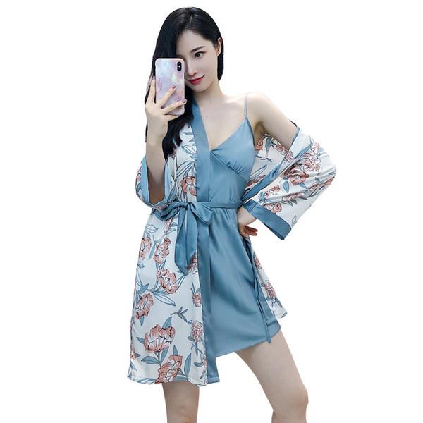 Freshing Summer Spring New 2 Pcs Printing Fashion Robe Set With Chest Pad Nightdress+Cardigan Set Sleepwear For Women