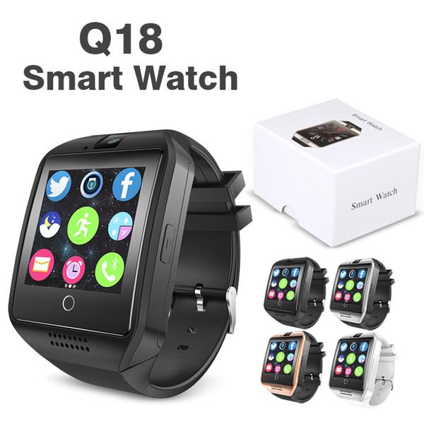 Q18 Smart Watch Bluetooth Relojes inteligentes para teléfonos celulares Android Soporte Tarjeta SIM Cámara Contestar llamada y configurar varios idiomas con caja