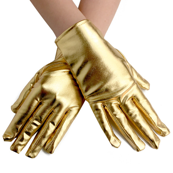 Wet Look PVC Gloves Gothic Gloves Women Sexy Short Five Fingers Gold Color Adult Evening Gloves