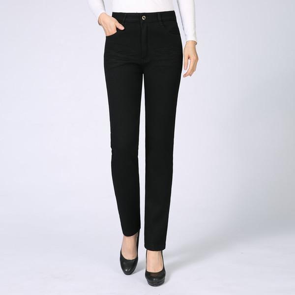 women black denim pants winter warm thick slim fit straight jean trouser woman fleece liner thermal zipper front jeans bottom