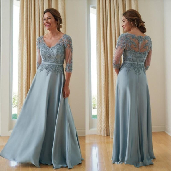 2019 Plus Size A Line Mother Of The Bride Dresses 3/4 Sleeve Beads  Appliques Wedding Guest Dress Lace Evening Gowns Mother Of The Bride  Dresses ...