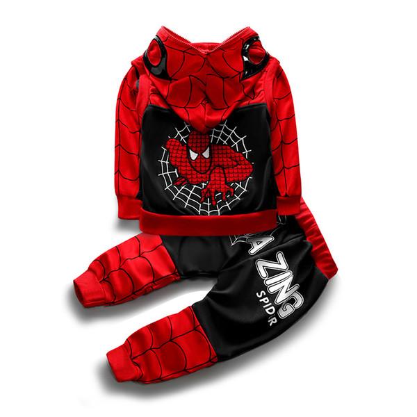 Spiderman HOT mode style classique pour enfants pour garçons sport costume de bébé manches courtes Vêtements tees de manteau de veste pull à capuche enfants