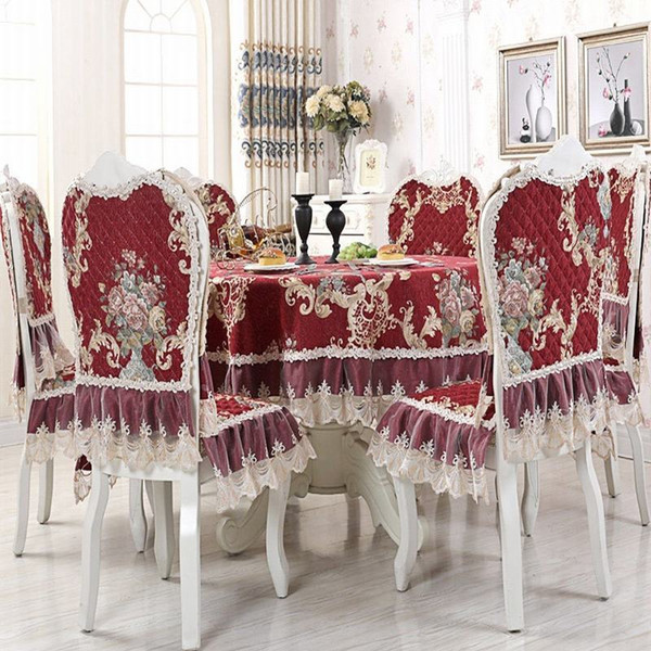 New Arrival Red Europe Lace Floral Embroidery Lace Tablecloth Round Tablecloth For Wedding Table Cloth Tea Tablecloths Y19062103