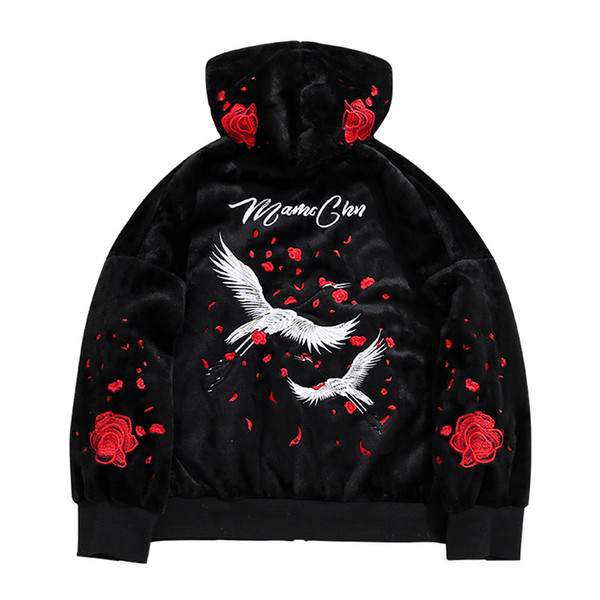 Autumn Winter New Casual Loose Hoodies Sweat Men flannel crowned crane Rose flower Embroidery pullover Sweatshirts