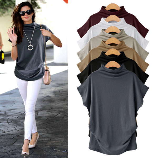 Short-sleeved female 2018 new t-shirt Korean version of the large size loose shirt wild long section blouse half-high collar bottoming shirt