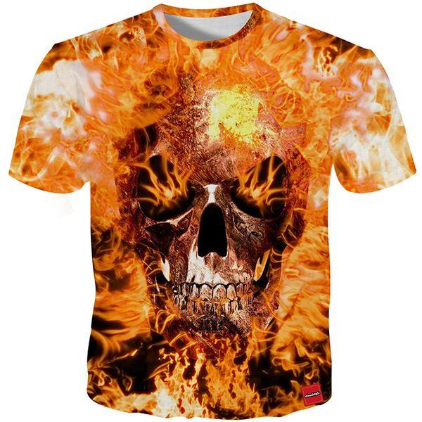 YFFUSHI 2018 Male 3d T-Shirts Own Design Fire Skull Print Monster 3D Print Both Side Hip Hop Short Sleeve Tshirt Plus Size 5XL