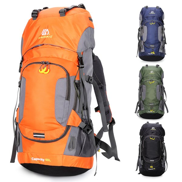 60L Large Capacity Outdoor Sports Bag Waterproof Camping Traveling Mountaineering Cycling Hiking Backpack with Rain Cover