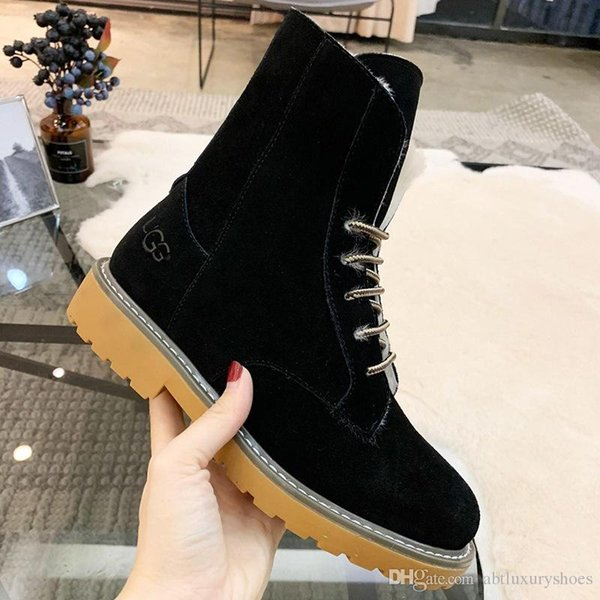 Snow Boots Winter 2018 Fur Lace-Up Lady Shoes Zapatos de hombre Footwears Warm Ankle Platform VGG Round Toe Female Boots Luxury Casual