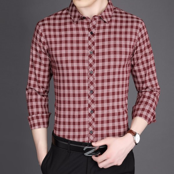 Red Plaid Shirts Mens Plaid Office Dress Shirts Business Camisa Hombre Formal Slim Fit Elegante Hombre Dropshipping Cheap Clothe