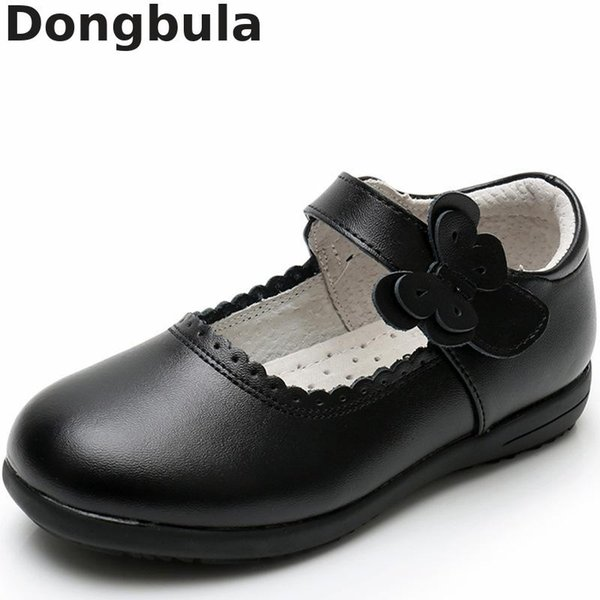 New Girls Princess Leather Shoes For Black Kids Dress Shoes School Flat Breathable For Princess Student Party Dancing