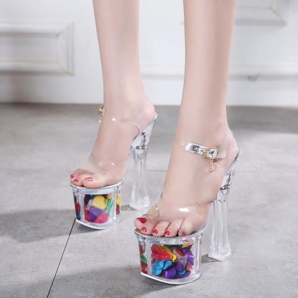 Vendita calda-Sandali Scarpe da donna Tacchi alti 18CM Scarpe di cristallo Pompe da donna Sexy Sandali femminili trasparenti Piattaforma Scarpe da sposa Taglia34-43
