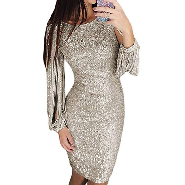 Flowers sequined Mermaid Prom Dresses 2019 Appliques Beads Sheer Long Sleeve Evening Gown Silver Stretchy Satin robes de soirée