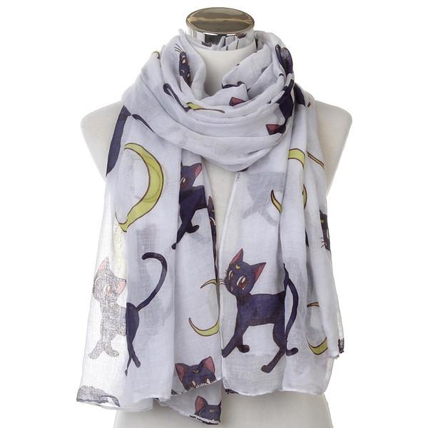 WINFOX 2019 nouvelle mode surdimensionné doux chat blanc lune longue écharpe bufanda châles pour