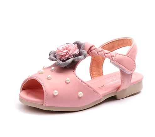 Summer Children Shoes Flower Baby Girls Beach Pearl Toddler Sandals For Kids Girl Princess Hook And Loop Sandals Shoes Size 21- 30