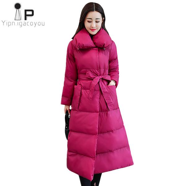 Down Jacket Casaco Comprido das mulheres Inverno Parka Mulheres Overcoat New coreano Magro Sashes Preto Thicken Quente Brasão Moda Ladies Jacket