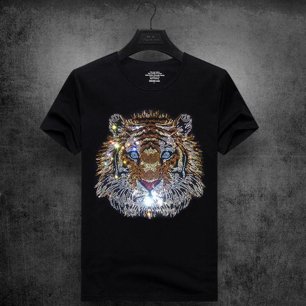 mens designer t shirts t shirt clothes tide brand tiger head hot drilling T-shirt short-sleeved men's round neck half sleeve social