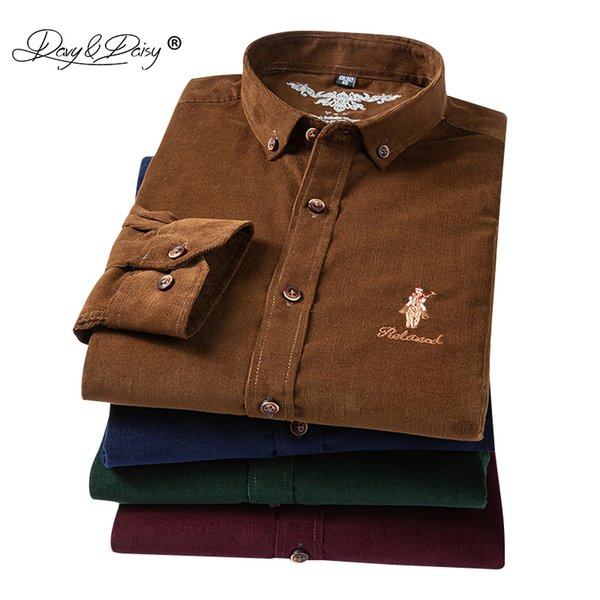 DAVYDAISY 2019 New Spring 100% Cotton Corduroy Men Shirts Causal Slim Fit Male Dress Formal Male Shirt camiseta masculina DS287