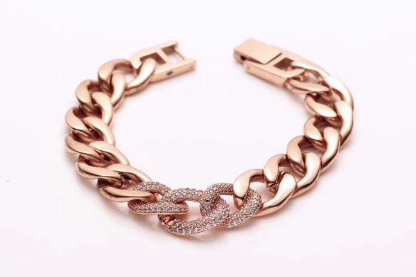 2019 Fashion Titanium steel bracelets for men women Three diamond-inlaid jeans Bracelets mens gold bracelets Rough chain Accessories